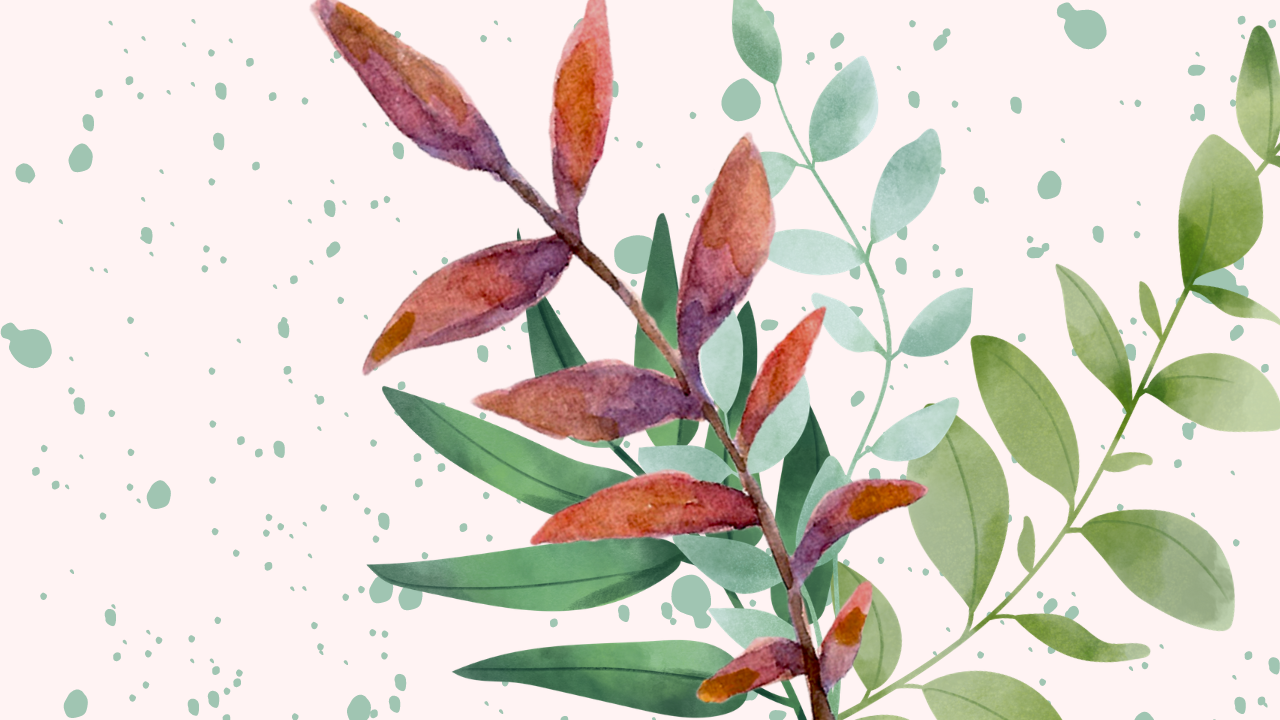 leaves over a background of splatter paint