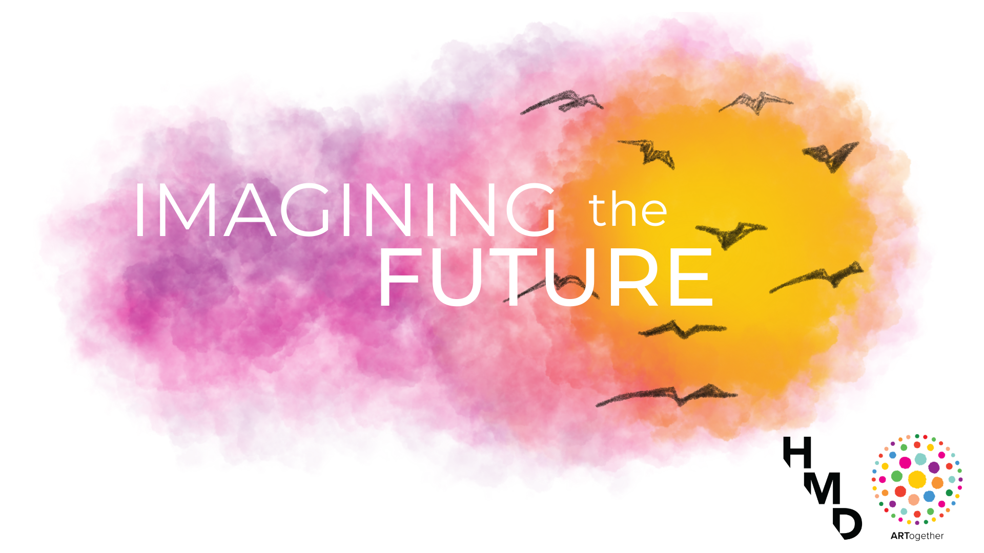 """Text reads """"Imagining the Future,"""" with an image of crows flying over an image of the sun."""